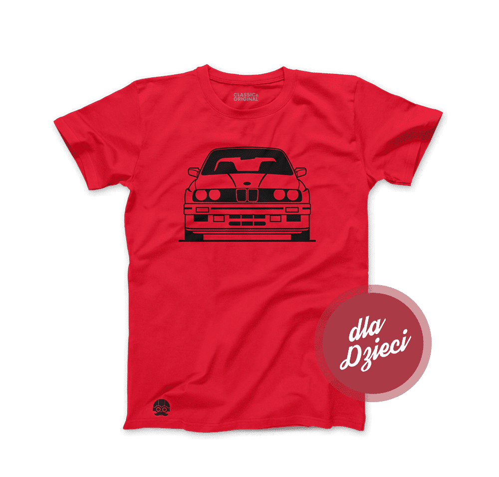 Czerwona koszulka dziecięca z BMW E30 M3