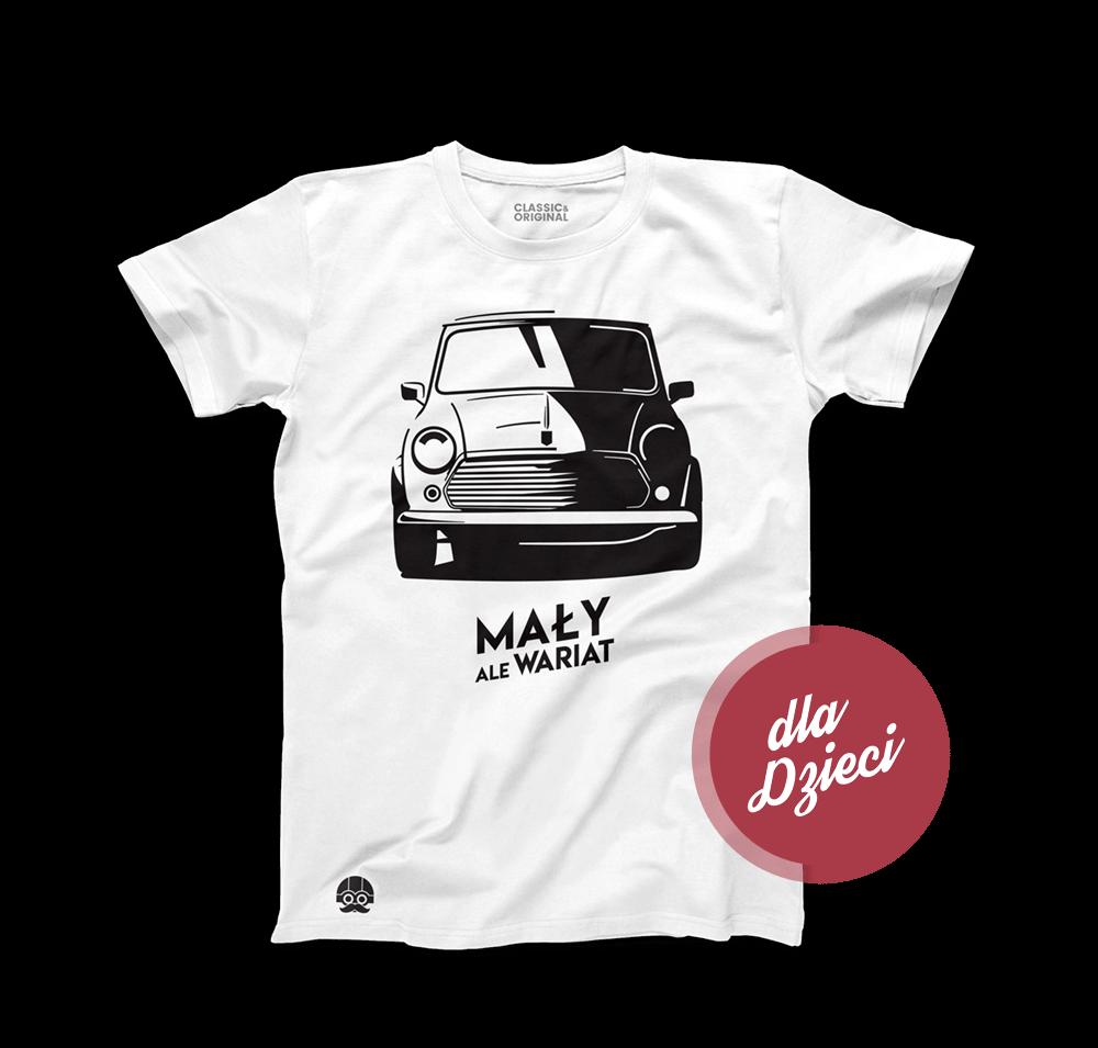"""Biała koszulka dziecięca z MINI Cooper """"Mały ale Wariat"""""""
