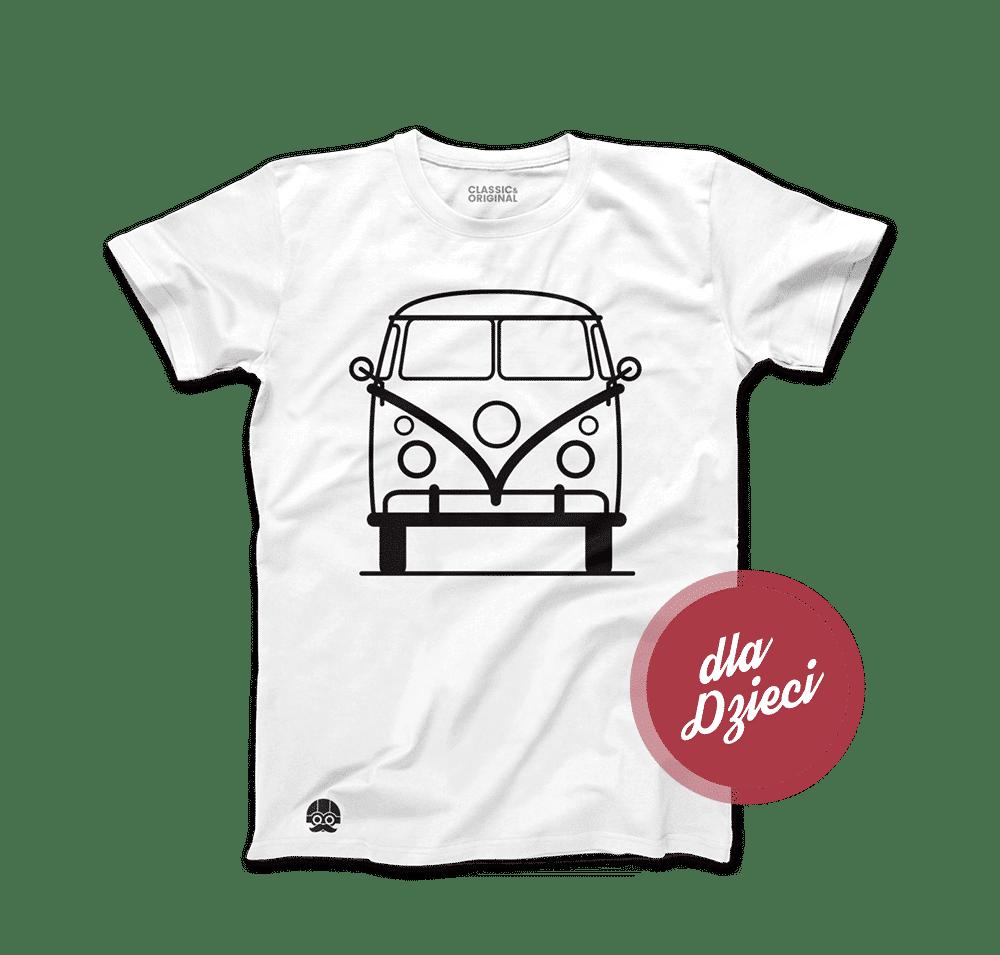 Koszulka dla dzieci z samochodem Volkswagen T1 Biała