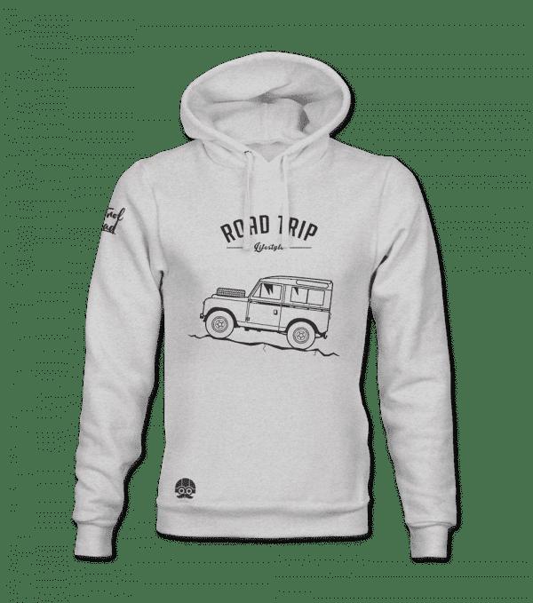 bluza z kapturem z samochodem Road Trip Land Rover Defender