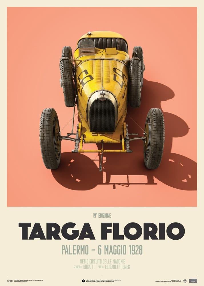 Bugatti T35 – Yellow – Targa Florio – 1928 – Limited Poster