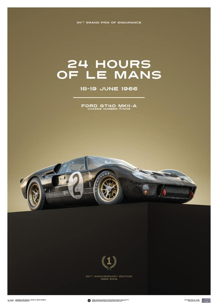 Ford GT40 – Black – 24h Le Mans – 1966 – Limited Poster