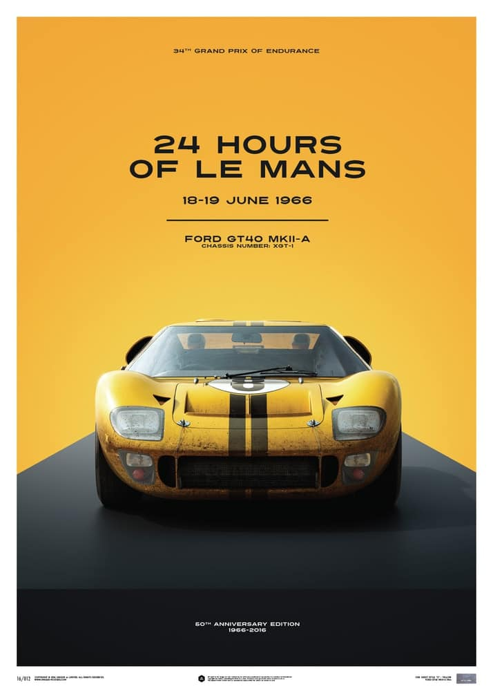 Ford GT40 – Yellow – 24h Le Mans – 1966 – Limited Poster