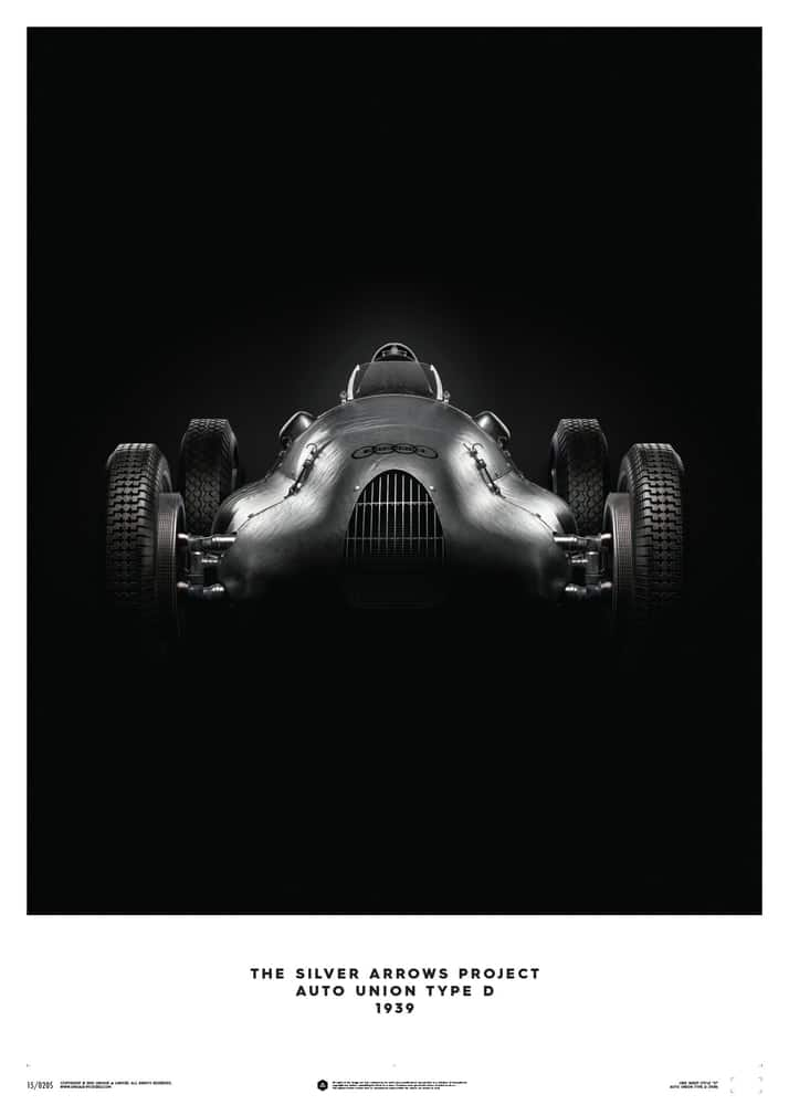 Auto Union Type D – Silver – 1939 – Poster