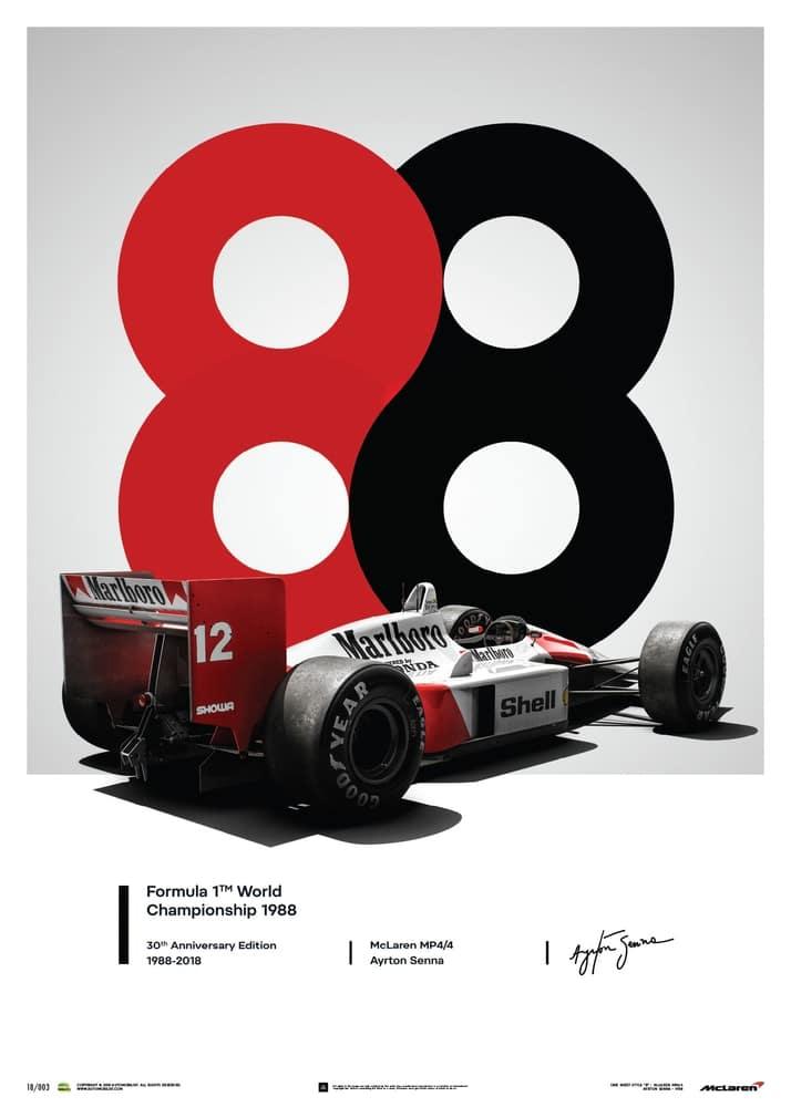 McLaren MP4/4 – Ayrton Senna – 1988 – San Marino GP – 1988 – Poster