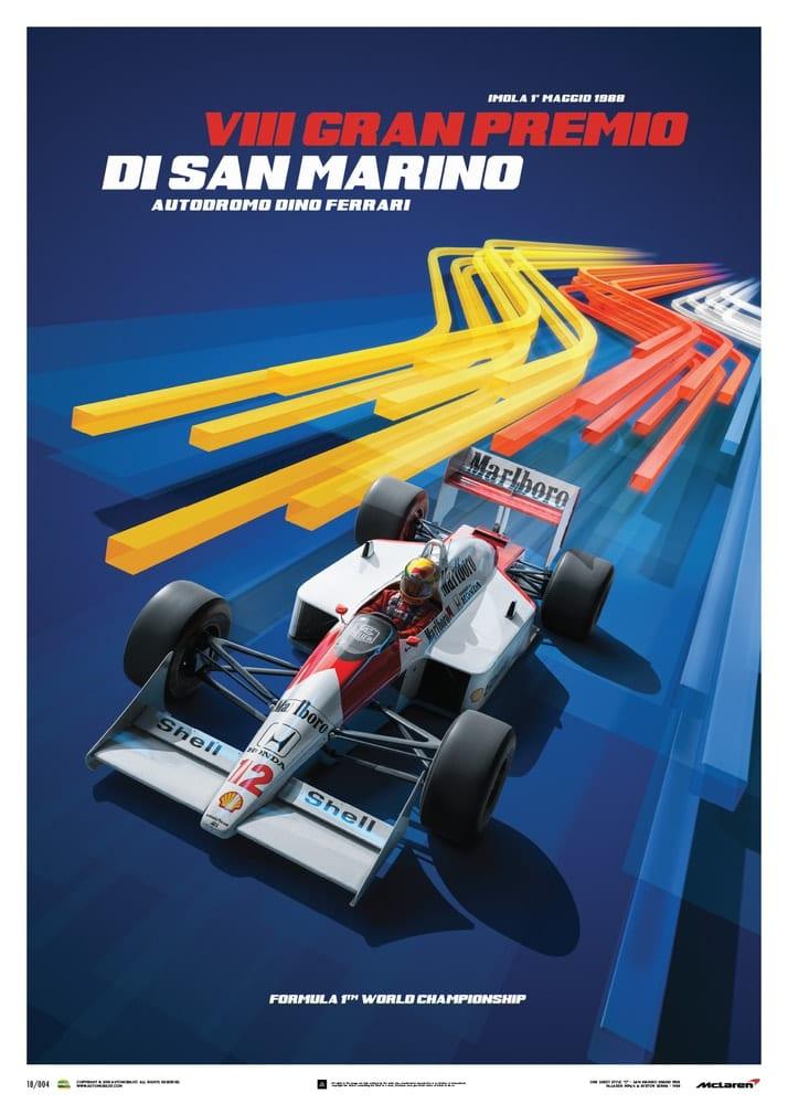 McLaren MP4/4 – Ayrton Senna – Blue – San Marino GP – 1988 – Poster