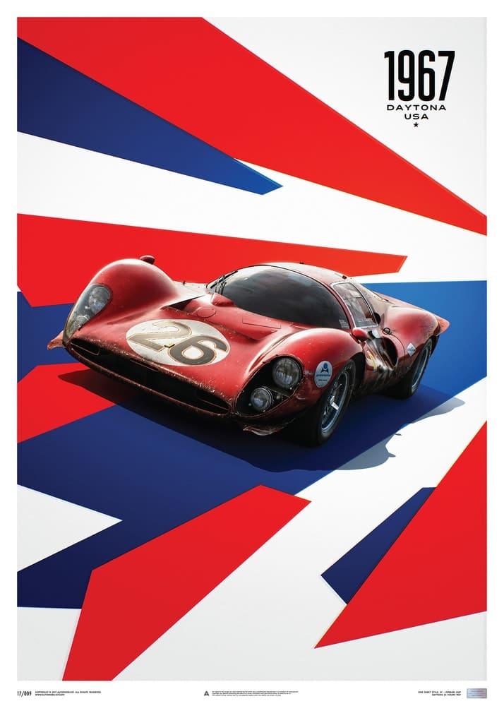 Ferrari 412P – Red – 24 Hours of Daytona – 1967 – Limited Poster
