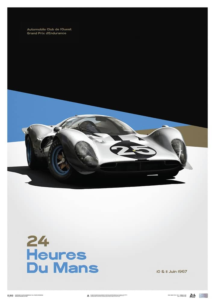Ferrari 412P – White – 24 hours of Le Mans – 1967 – Limited Poster
