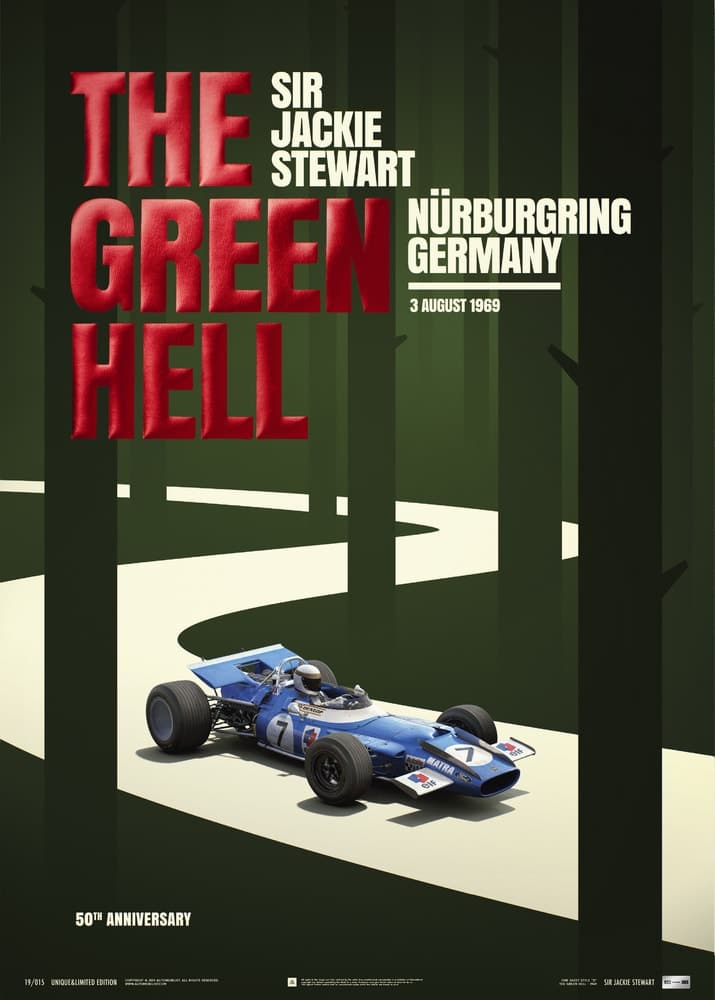 Matra MS80 – Sir Jackie Stewart – The Green Hell – Nürburgring GP – 1969 | Collector's Edition Poster