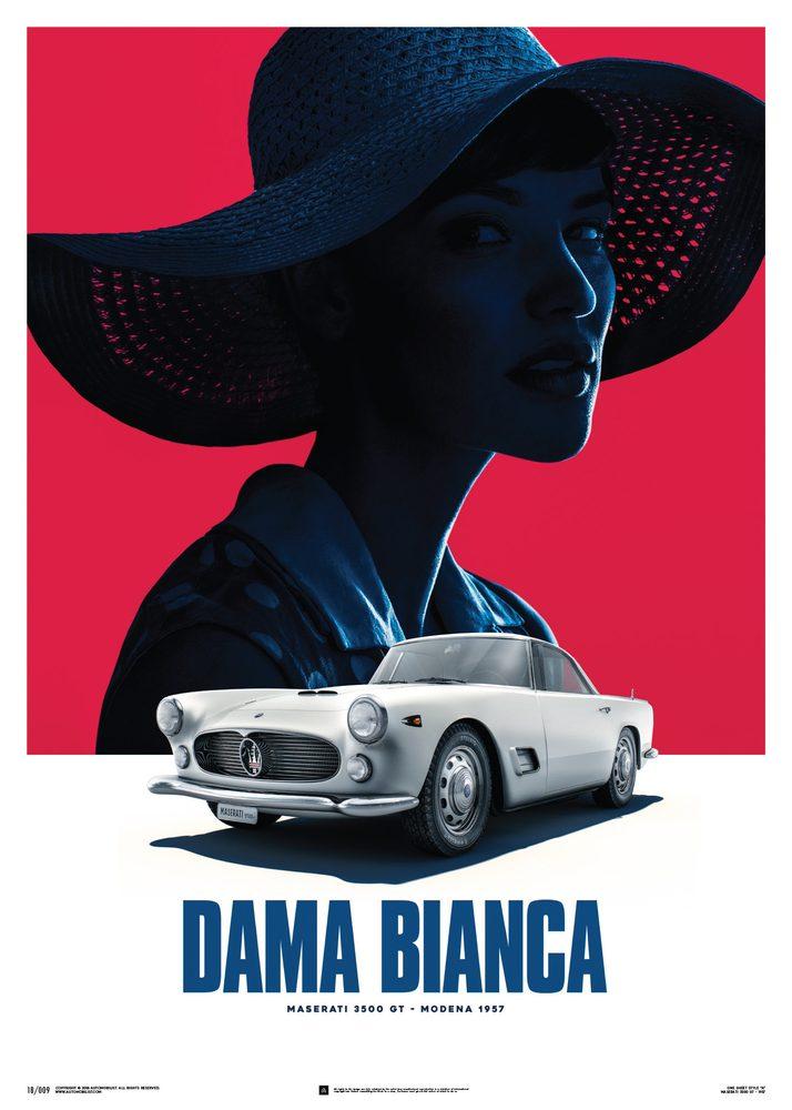 Maserati 3500 GT – White – Dama Bianca – 1957 – Poster