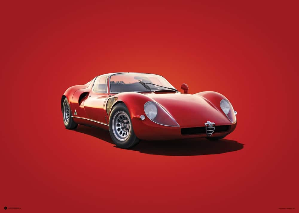 Alfa Romeo 33 Stradale – Red – 1967 – Colors of Speed Poster