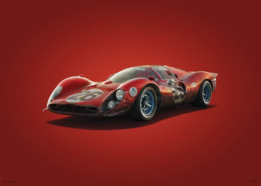 Plakat Ferrari 412P – Red