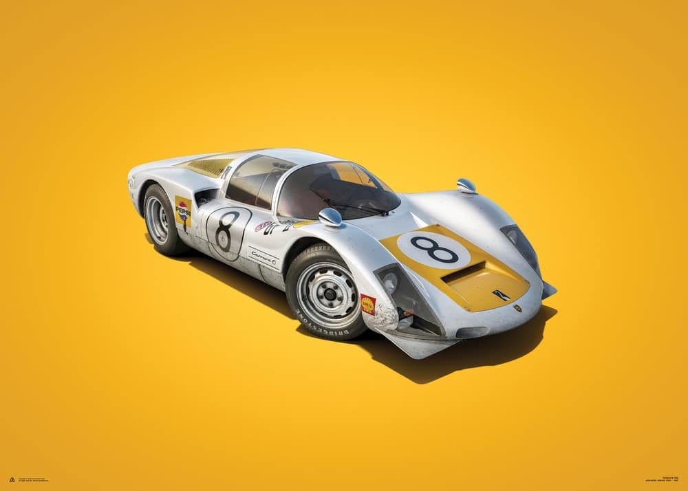 Plakat Porsche 906 – Yellow – Japanese GP 1967
