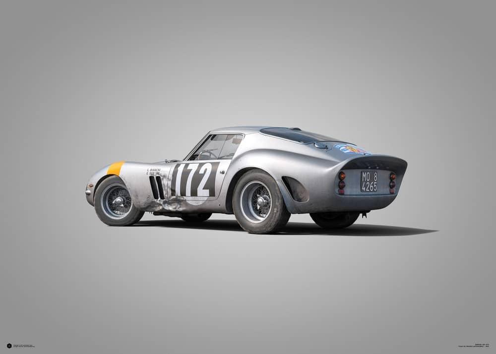 Ferrari 250 GTO – Silver – Tour de France – 1964 – Colors of Speed Poster