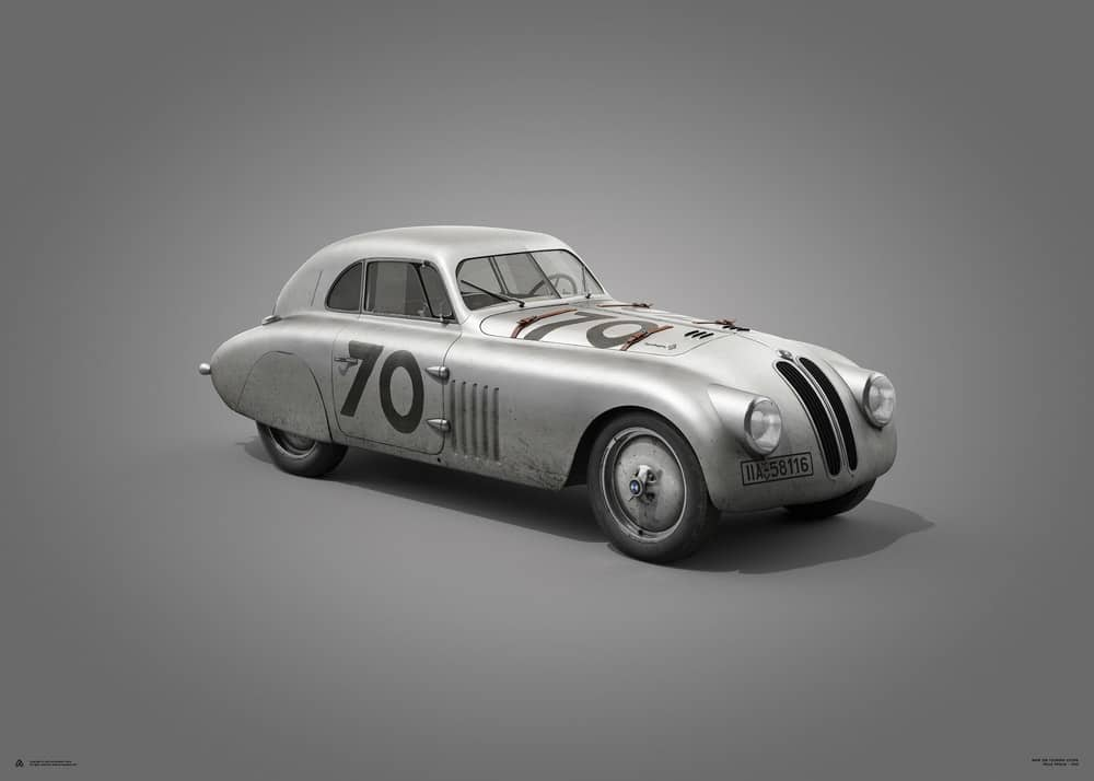 BMW 328 – Silver – Mille Miglia – 1940 – Colors of Speed Poster