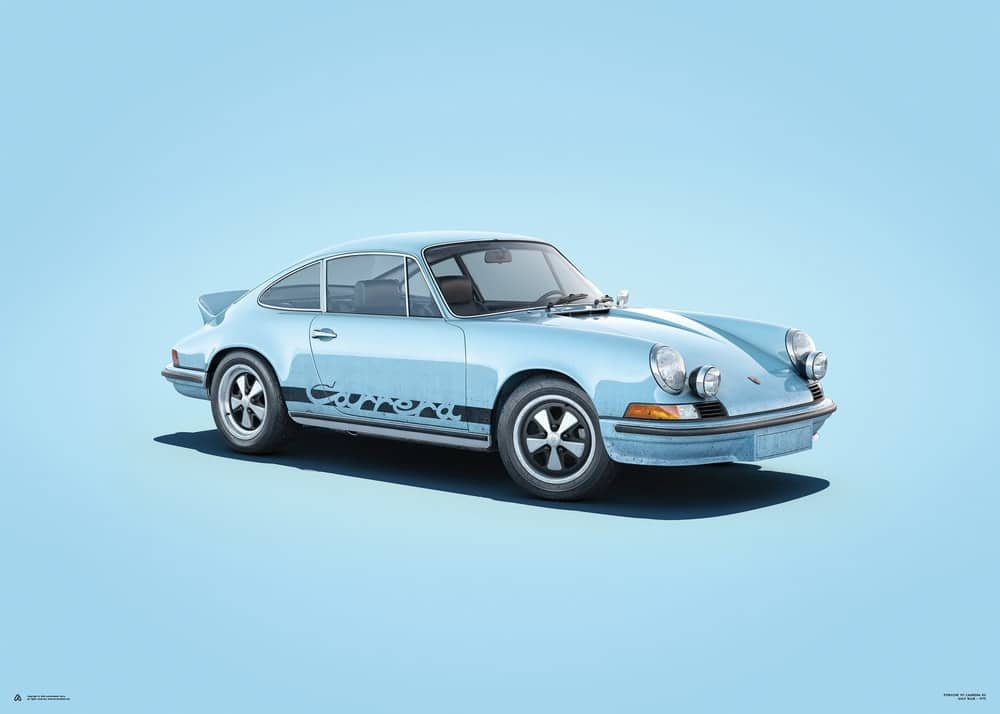 Porsche 911 RS – Blue – Colors of Speed Poster