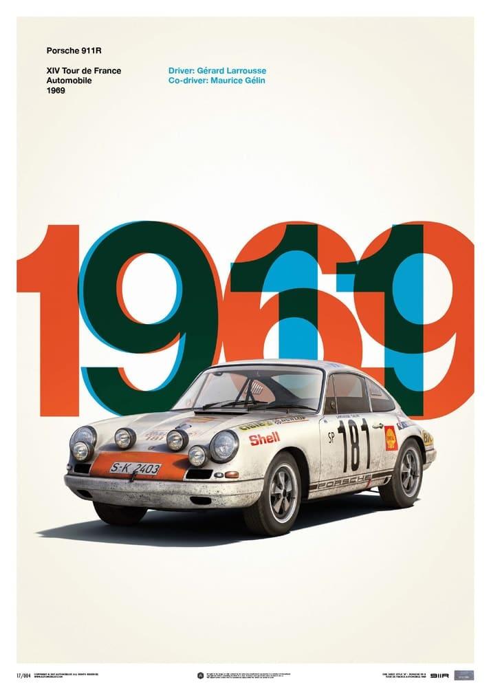 Porsche 911R – White – Tour de France – 1969 – Limited Poster