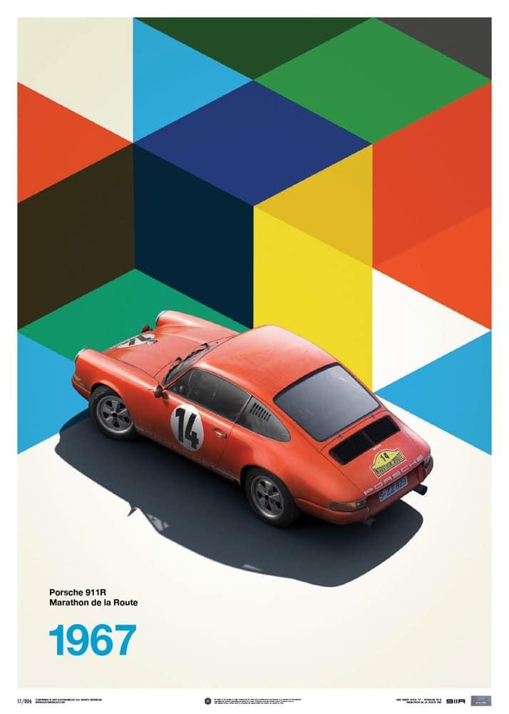 Porsche 911R – Red – Marathon de la Route – 1967 – Limited Poster
