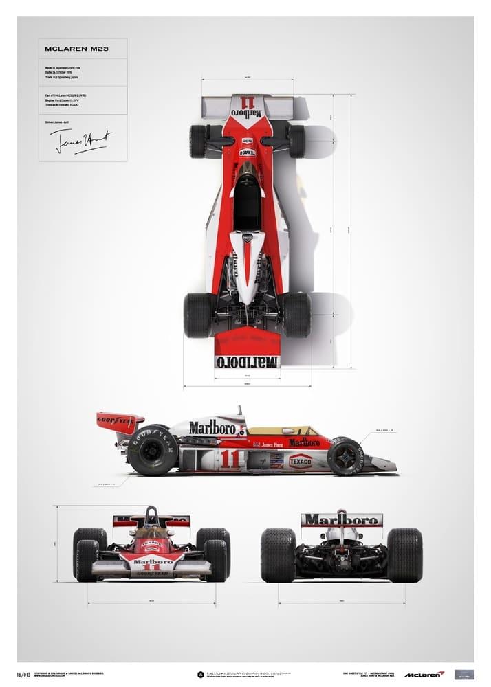 McLaren M23 – James Hunt – Blueprint – Japanese GP – 1976 – Limited Poster